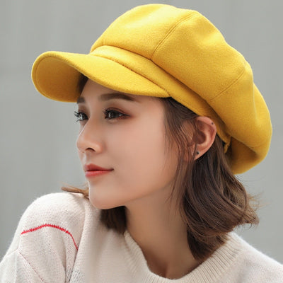 Autumn / Winter Plain Octagonal Casual Woolen Cap/Hat for Girls/Women's by FavStuffs - FavStuffs