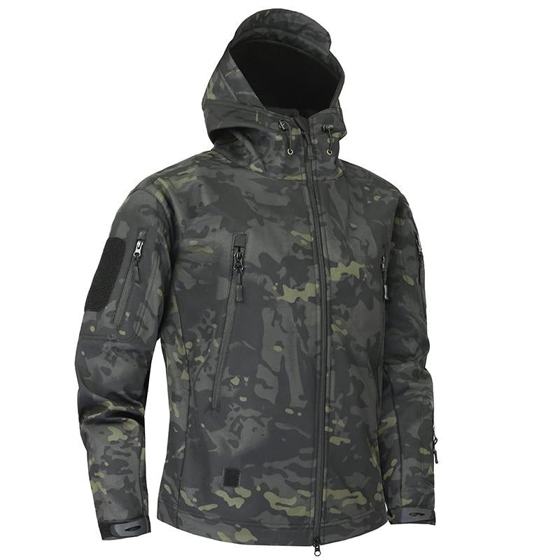 Attractive Shark Skin Camouflage Fleece Men's Waterproof Jacket by FavStuffs - FavStuffs