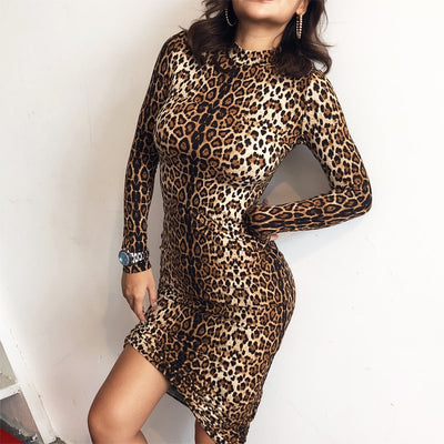 FavStuffs Leopard Print Long Sleeve Slim Bodycon Autumn/Winter Women's Outfit - FavStuffs