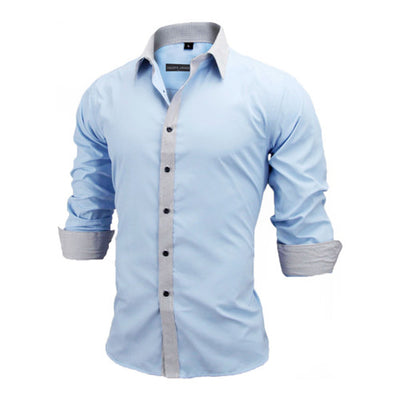 Men's New Arrivals Slim Fit Solid Long Sleeve British Style Cotton Men's Shirt by FavStuffs - FavStuffs