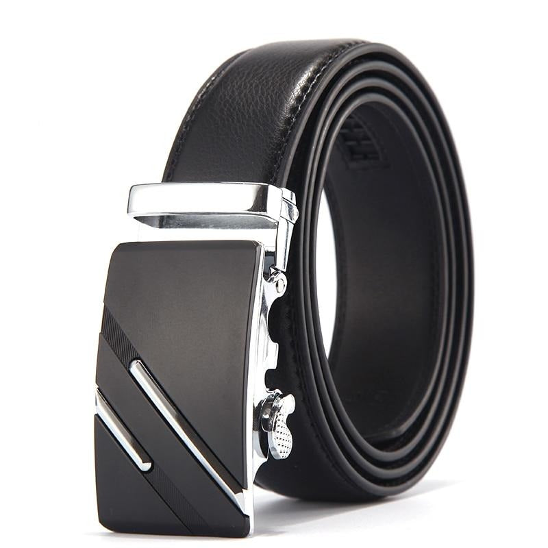 Men's Top Quality Genuine Luxury Leather Belt Straps with Metal Automatic Buckle by FavStuffs - FavStuffs