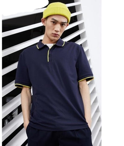 FavStuffs Men's Basic Solid Color Cotton Turn-Down Collar Polo T-Shirt - FavStuffs