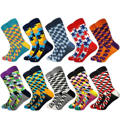 FavStuffs Men's Colorful Plaid Cotton Socks - FavStuffs