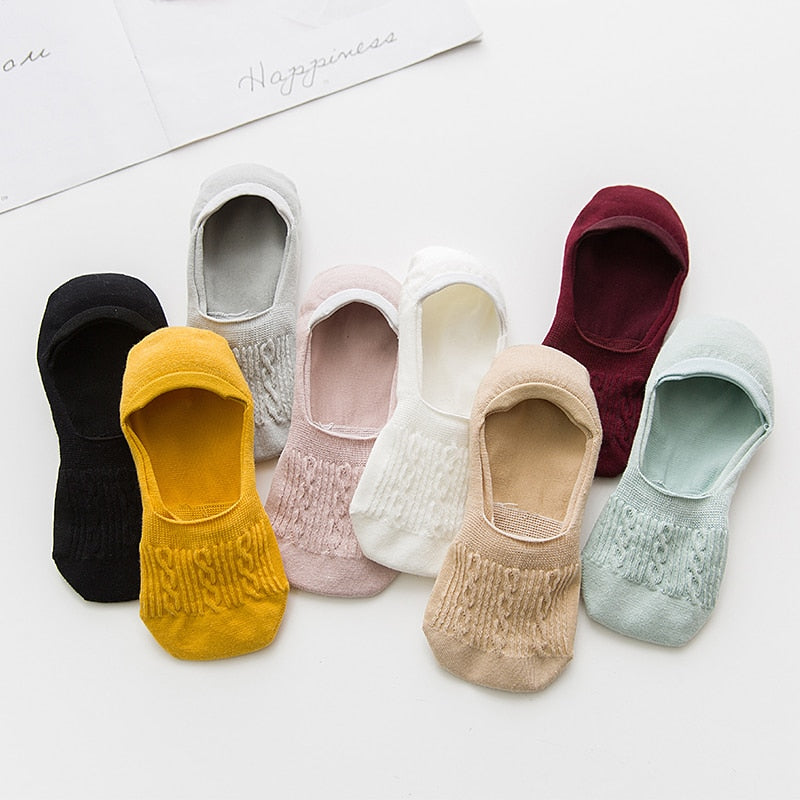 New Girls/Women's Casual Breathable Ankle Boat Non-Slip Cotton Socks by FavStuffs - FavStuffs