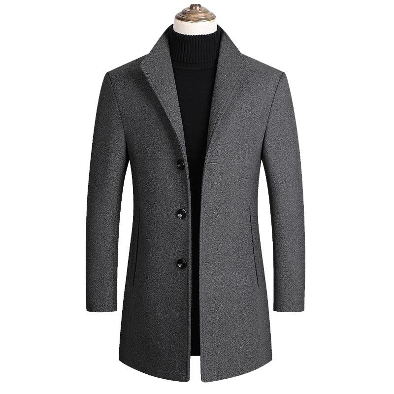 Men's Wool Blends Autumn / Winter Solid Color High Quality Wool Coat by FavStuffs - FavStuffs
