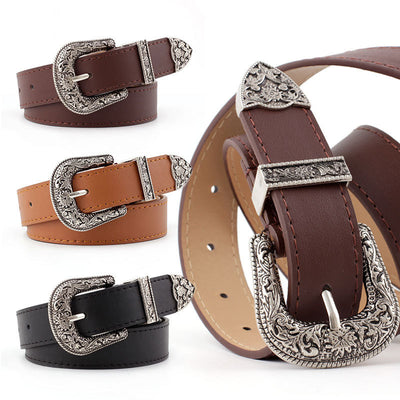 Western Cowgirl Genuine Leather Waist Belt with Metal Buckle Waistband for Girls/Women by FavStuffs - FavStuffs