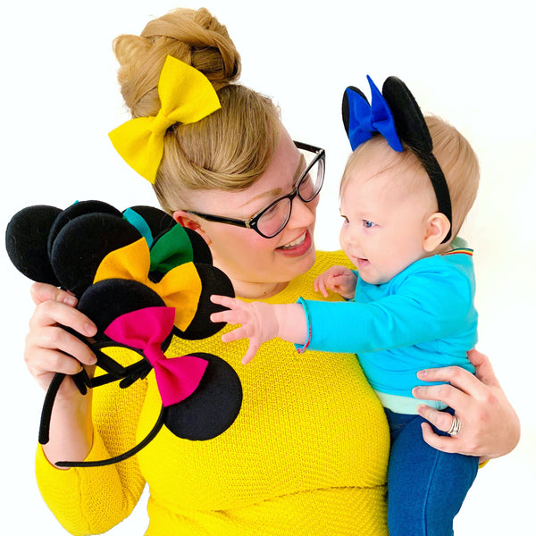 Easy peasy DIY baby Minnie ears/Nursery mouse ear gallery wall