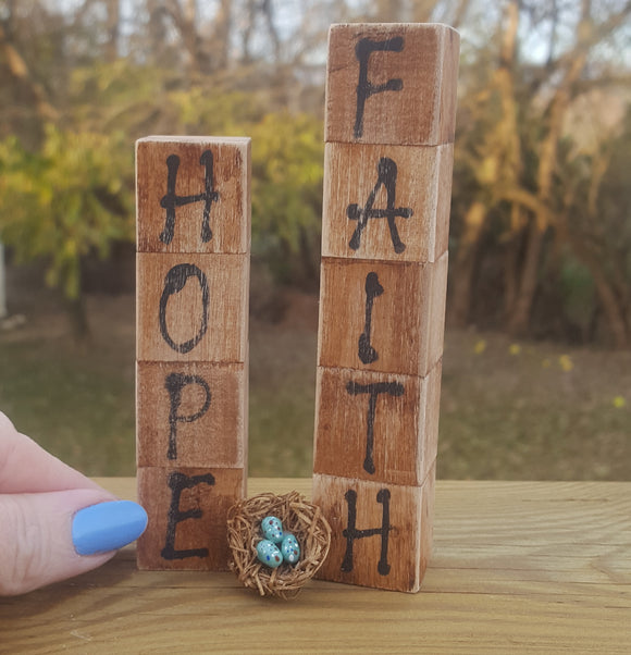 Hope Begins with Faith - OOAK Rustic Wood Block Sign & Mini Sculpture Set