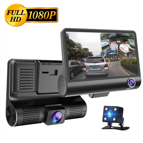 "3 Lens Dash Cam 1080P FHD DVR with 4"" IPS Screen 170° Wide Angle, G-Sensor, WDR"