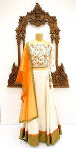 Orange & White lehnga