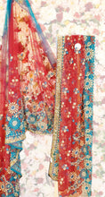 Load image into Gallery viewer, Turquoise & Red Netting Saree