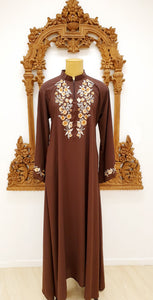 Brown Embroidered Abayah