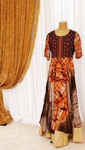 Orange Dye Print Long Dress