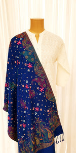 Blue Embroidered Winter Shawl