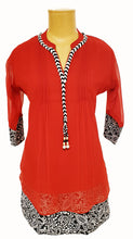Load image into Gallery viewer, Red Gerorgette Kurti