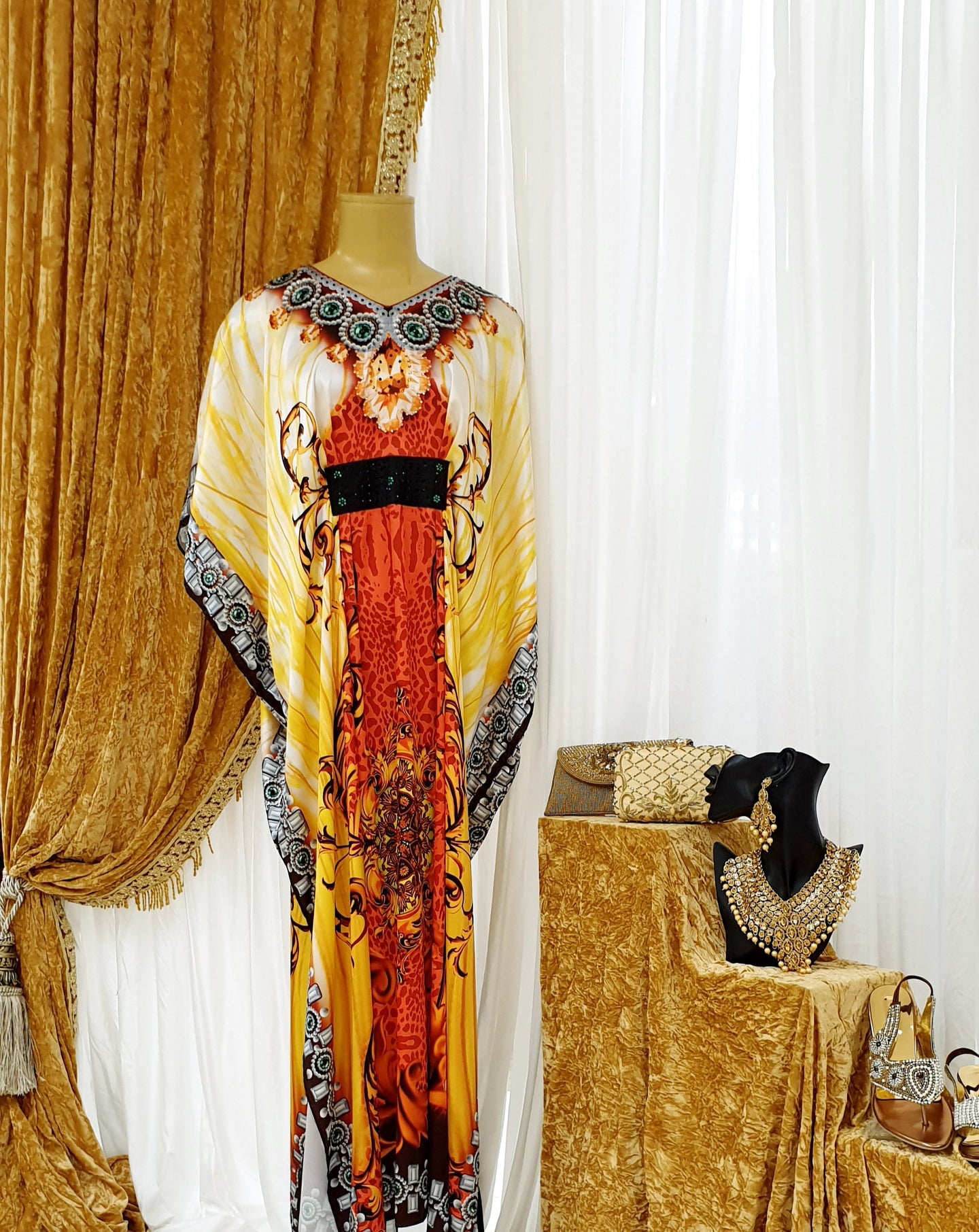 Yellow & Orange Printed Kaftan