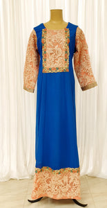Electric Blue & Peach Abayah