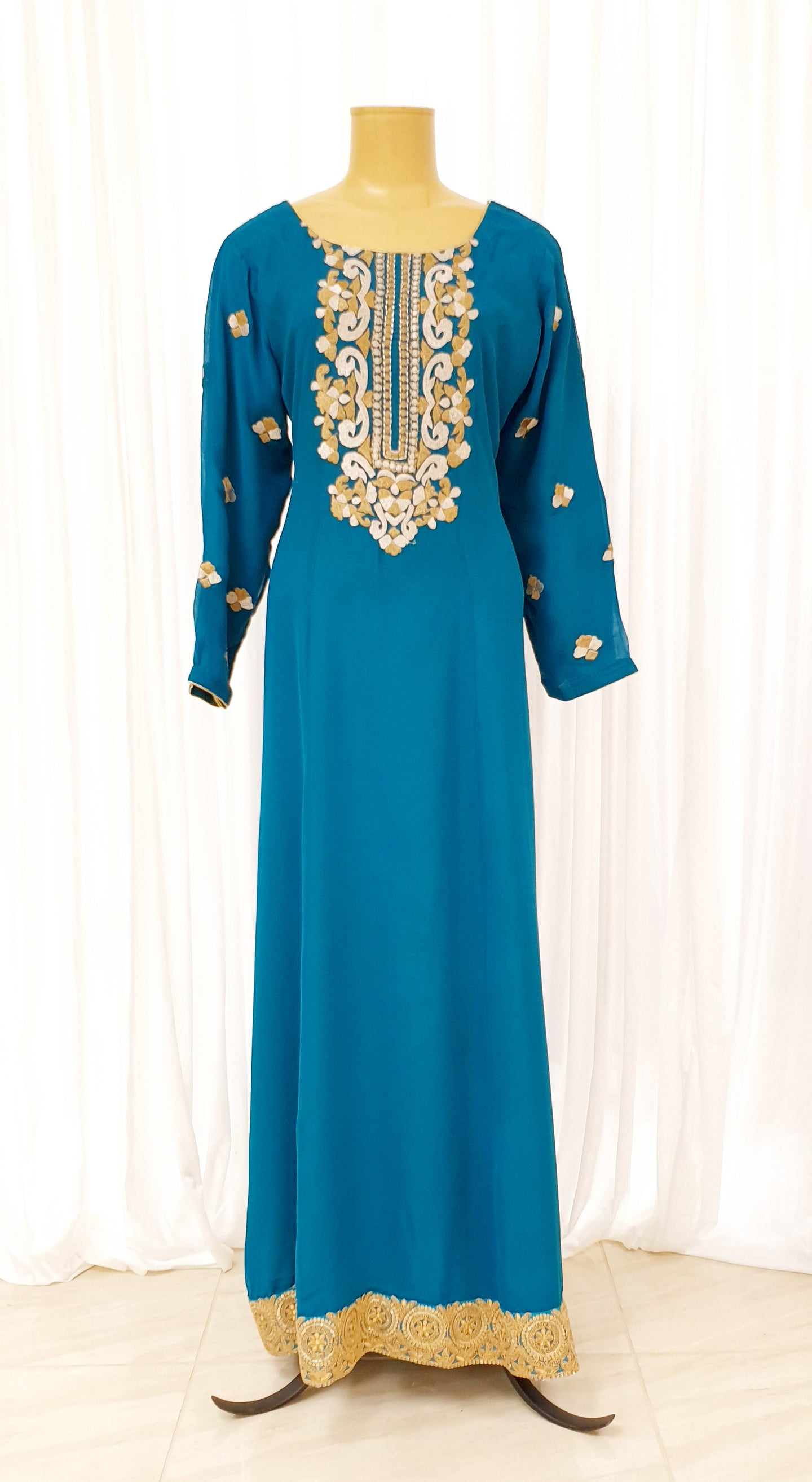 Teal Embroidered Abayah