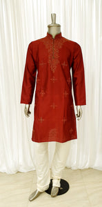 Deep Red Mens Kurta Pyjama Set