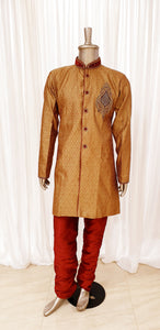 Antique Gold Mens Kurta Pyjama Set