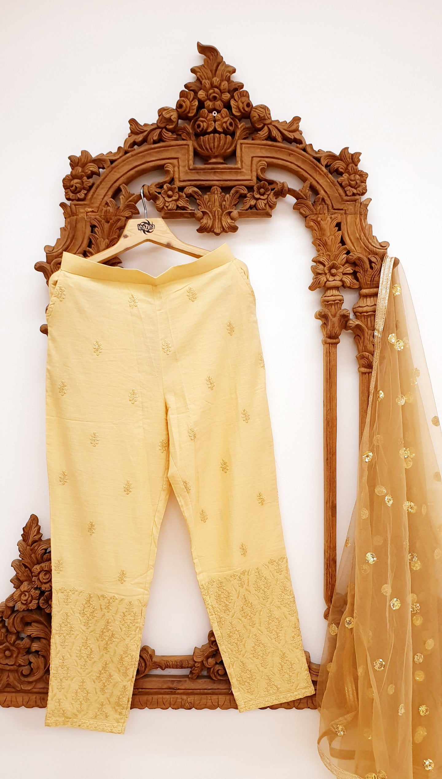 Gold Embroidered Cigarette Pants