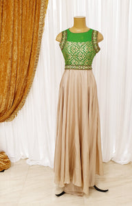Beige & Lime Long Gown