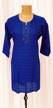 Load image into Gallery viewer, Chikankari Royal Blue Cotton Kurti