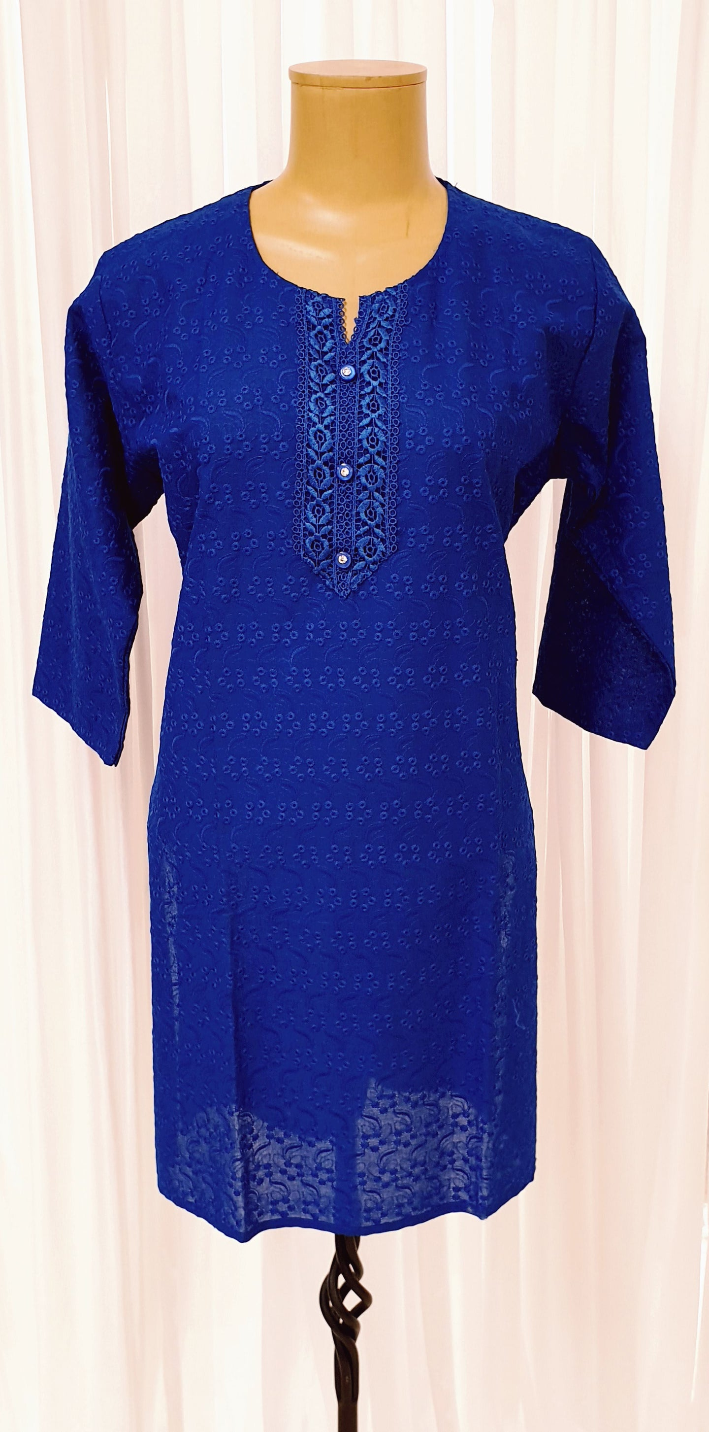 Chikankari Royal Blue Cotton Kurti