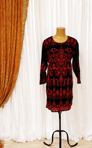Black & Red Embroidered Kurti