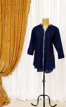 Load image into Gallery viewer, Navy Cotton Kurti