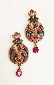 Pink & Green Stonework Earrings