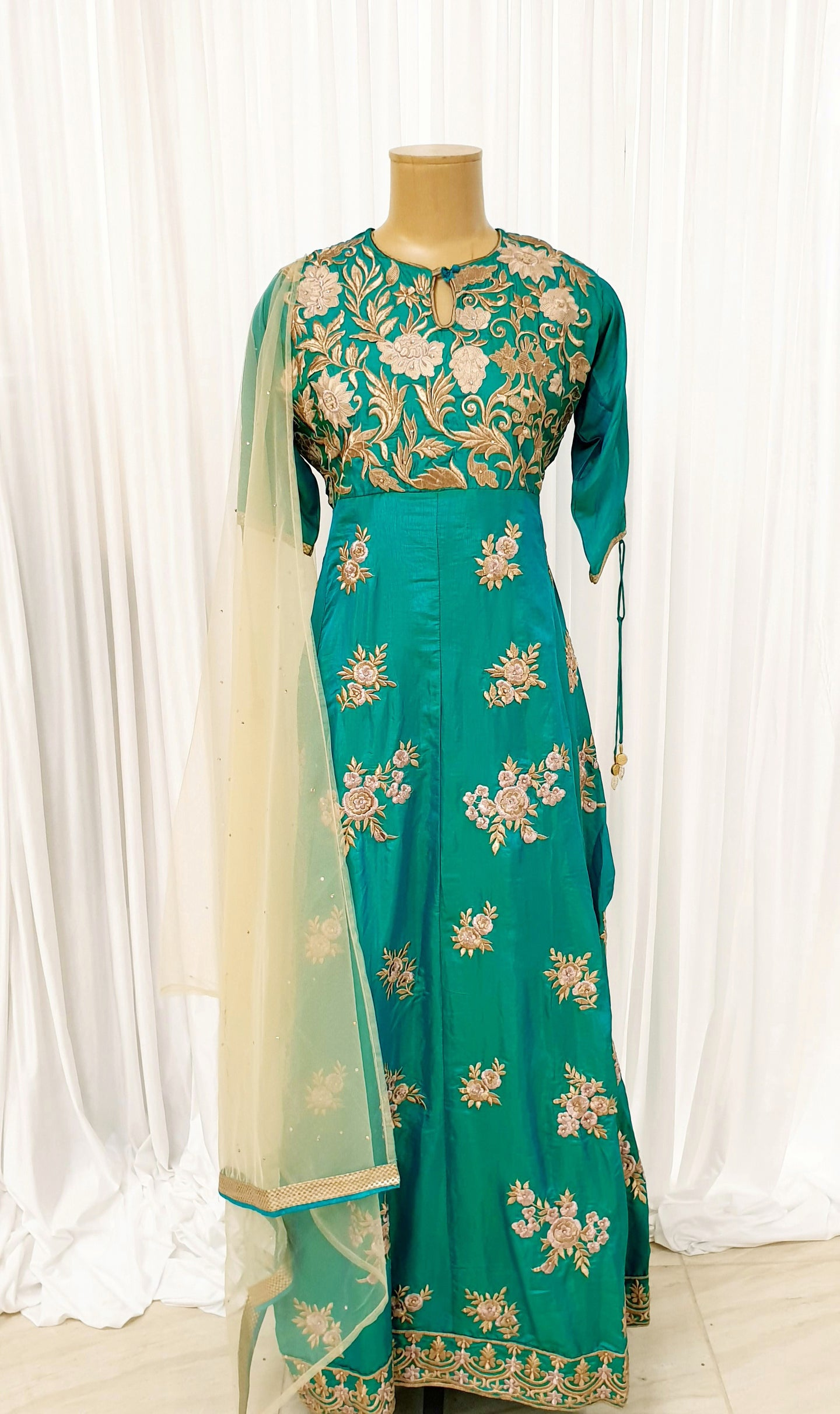 Aqua Embroidered Gown