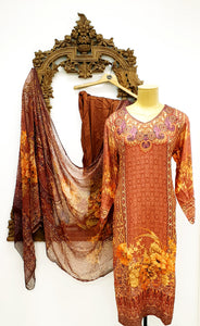 Brown & Yellow Printed Kameez
