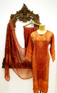 Yellow & Burnt Orange Printed Kameez