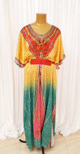 Lemon & Aqua Printed Kaftan