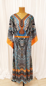 Black & Blue Printed Kaftan