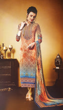 Load image into Gallery viewer, Peach & Aqua Printed Kameez
