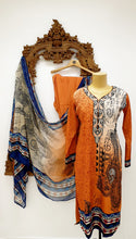 Load image into Gallery viewer, Orange Paisley Printed Kameez