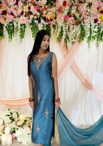 Ocean Blue Silk Straight Kameez