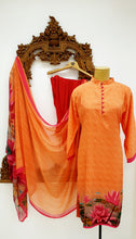 Load image into Gallery viewer, Orange Printed Kameez