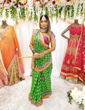 Load image into Gallery viewer, Lime Green Brocade Saree