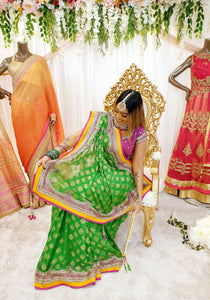 Lime Green Brocade Saree