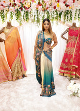 Load image into Gallery viewer, Teal Printed Saree