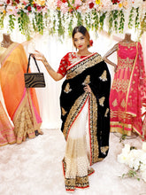 Load image into Gallery viewer, Black Velvet saree