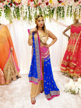 Load image into Gallery viewer, Royal Blue Georgette Saree