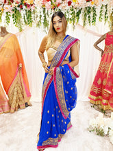 Load image into Gallery viewer, Blue Georgette Saree