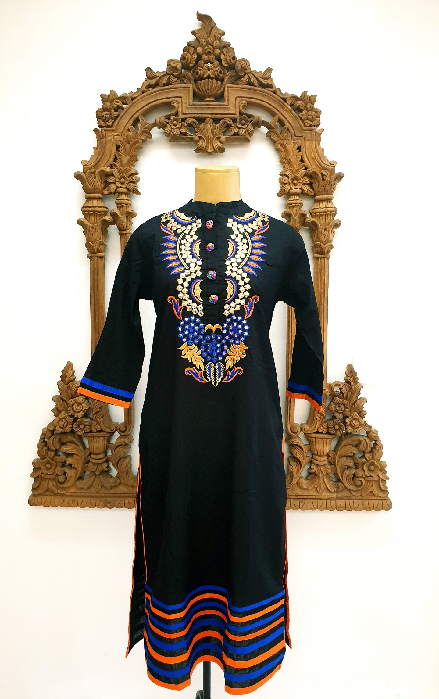 Black Embroidered Cotton Kurti