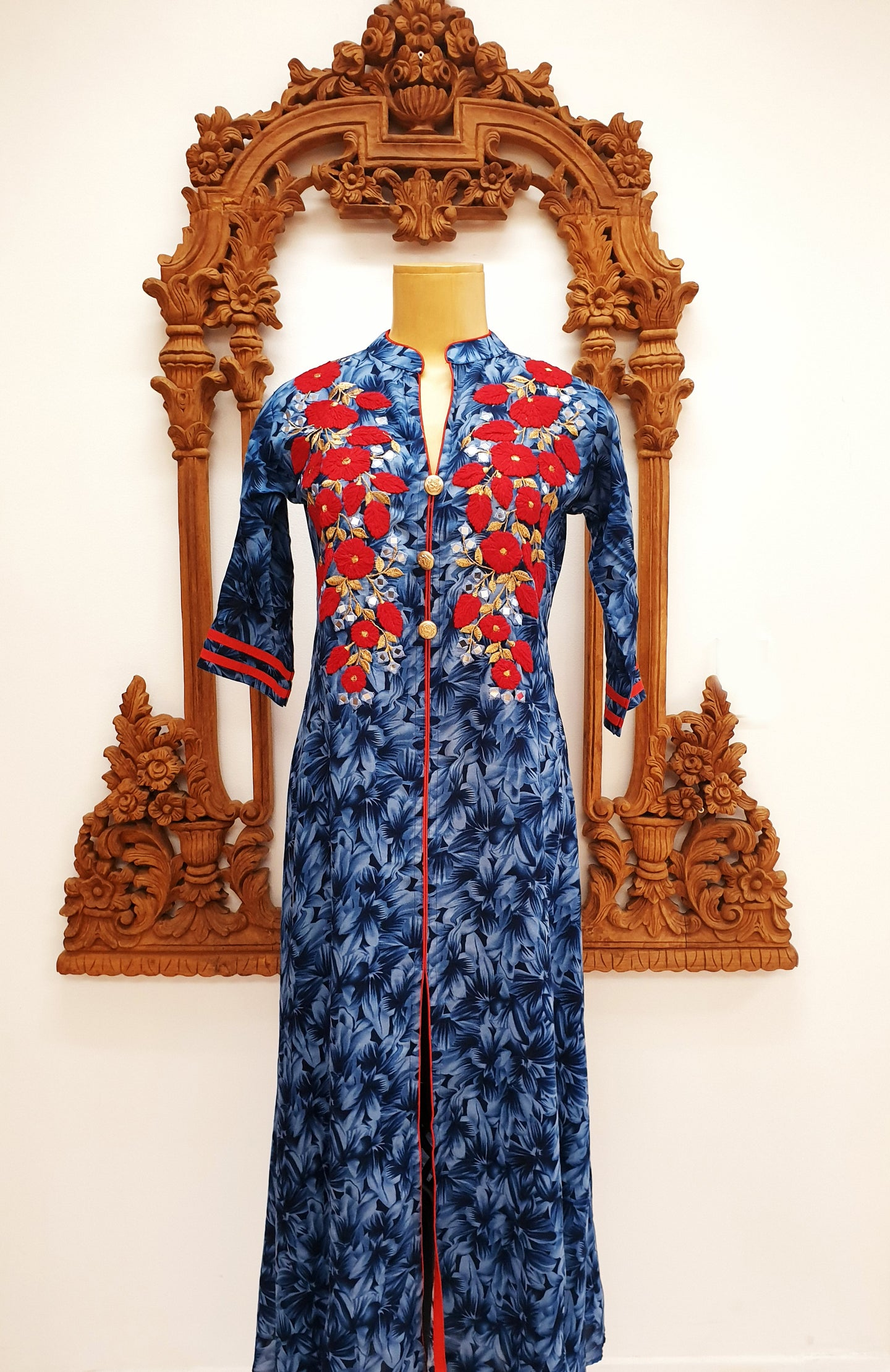 Blue Long Printed Kurti
