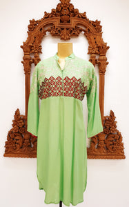 Light Green Poly-Cotton Kurti