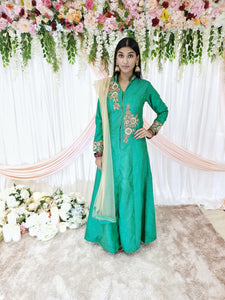 Green Embroidered Jacket Style Kameez
